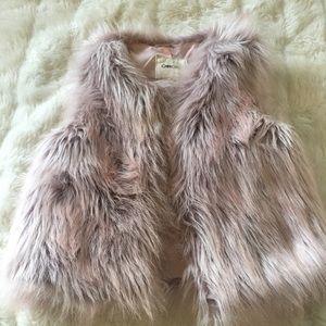 Cherokee Pink Faux Fur Vest